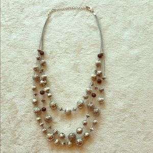 Silver multi strand necklace with beads